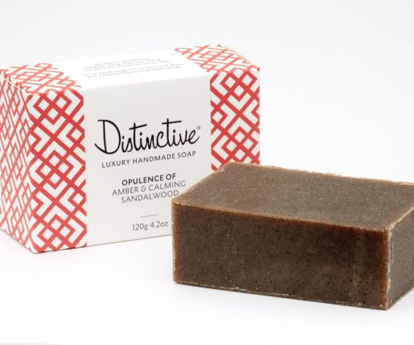 Distinctive masculine fragranced soap and box