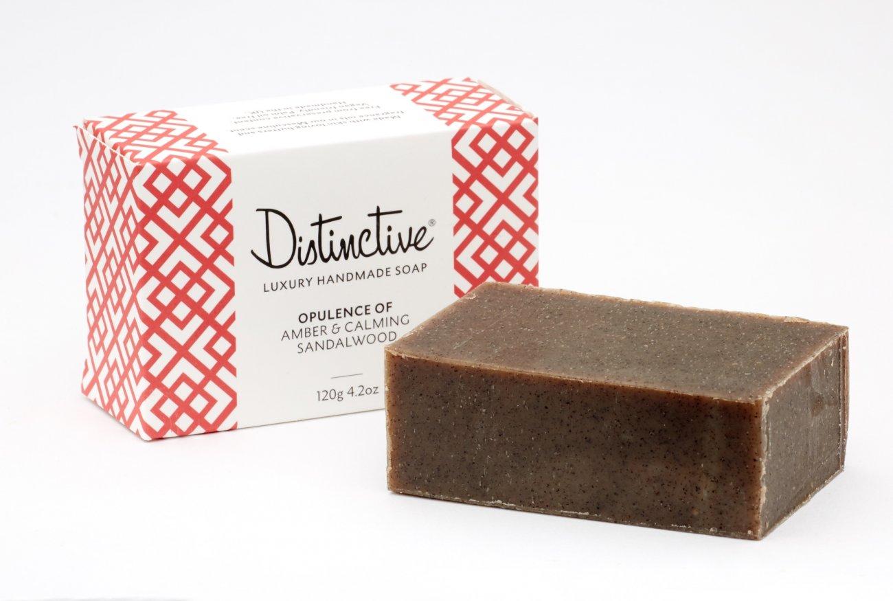 Distinctive masculine fragranced soap and box