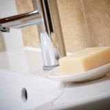 Bar of Distinctive soap in soap dish bathroom